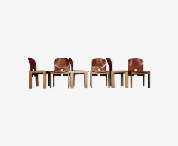 """Lot de 6 chaises par Scarpa Afra & Tobia """"121"""" pour Cassina, 1968"""