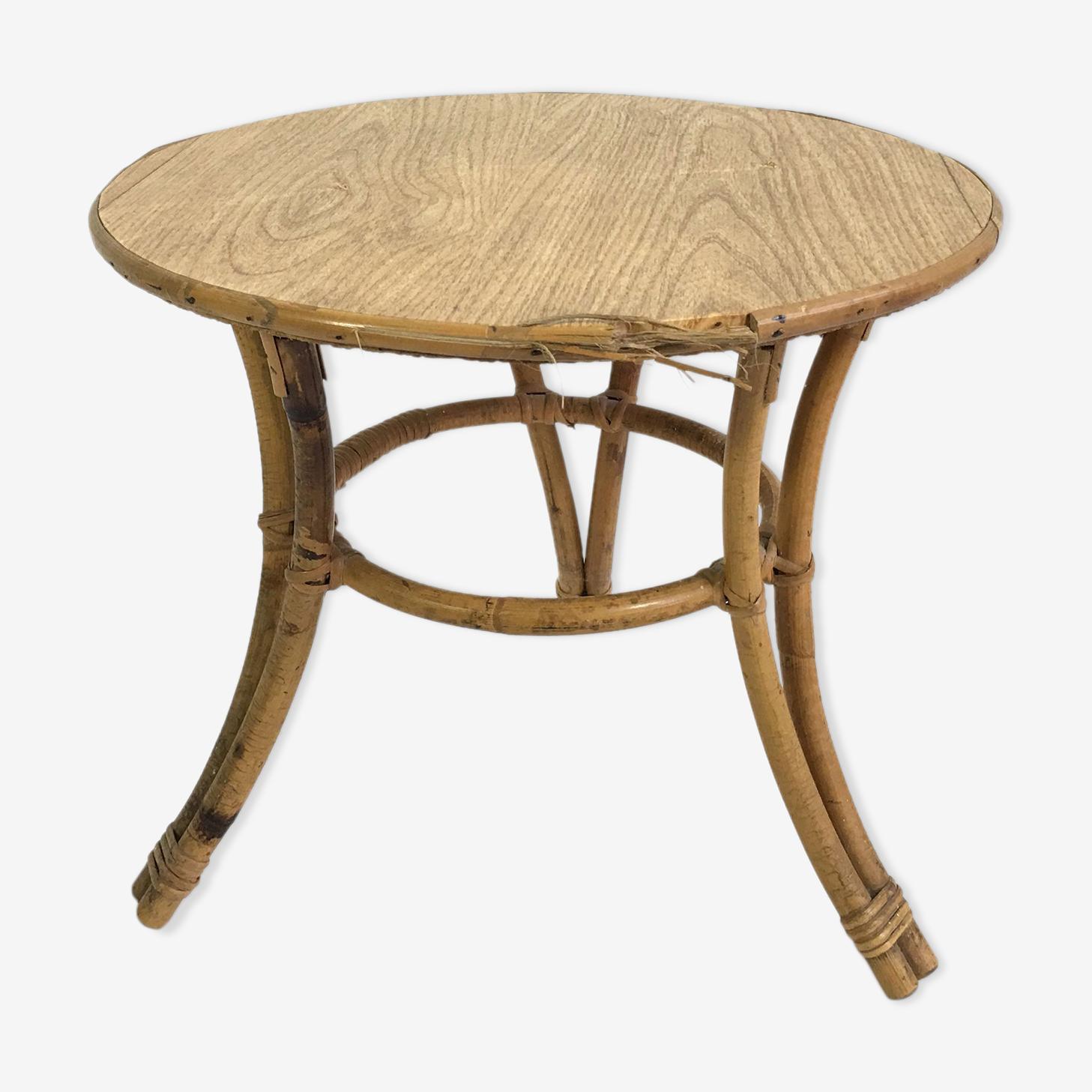 Table basse en bambou et rotin, France, 1960