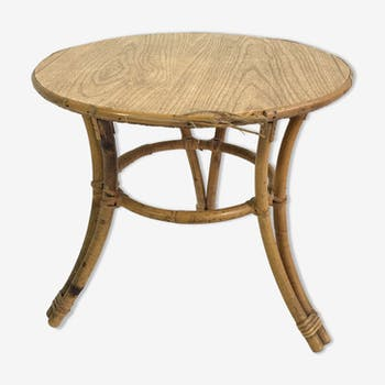 Table basse en bambou et rotin, France, 1960