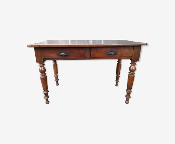 Bistro table with drawers turned feet 118cm