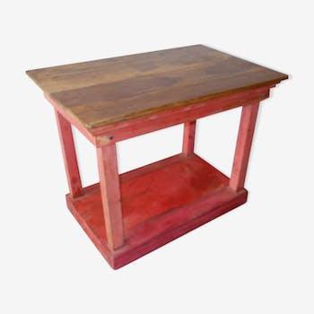 Table présentoir console teck