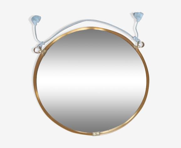 Large golden round mirror 70cm