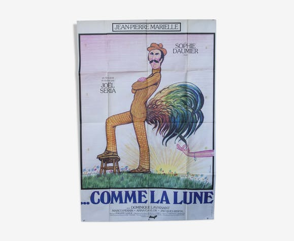 """Poster 120x160 """"Like the moon"""" Jean Pierre Marielle 1977"""