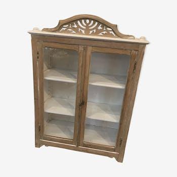 Small showcase wooden white wash