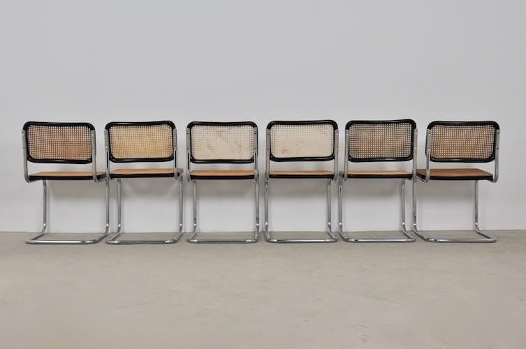 Lot de 6 chaises B32 de Marcel Breuer