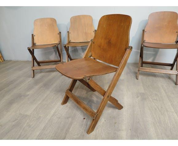 Set de 4 chaises pliantes US army années 40