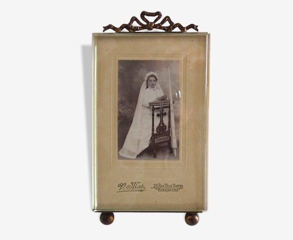 cadre photo sous verre ancien en verre biseaut et m tal. Black Bedroom Furniture Sets. Home Design Ideas