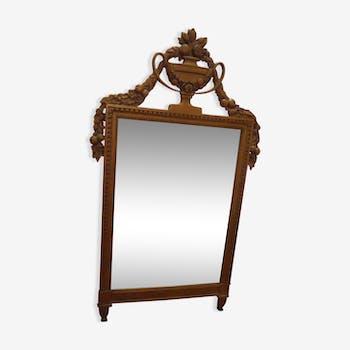 Miroir ancien en bois avec décor de fruits sculptes 130x70cm