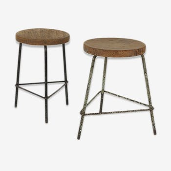 Pair of stools down Pierre Jeanneret