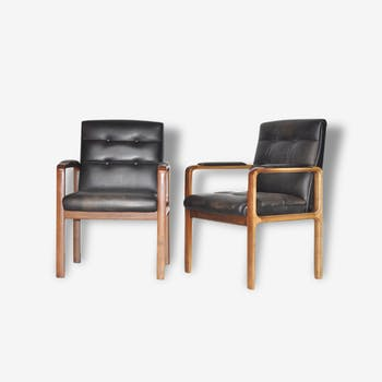 Rosewood and black leather dining chairs by Kondor