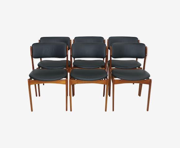 Lot de 6 chaises de salon en teck par Erik Buch 1960