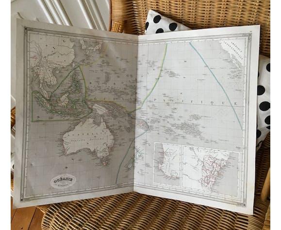 Carte géographique 19ème numérotée Océanie