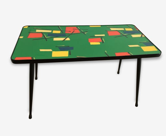 table basse formica pieds compas vintage ann es 50 60 formica multicolore vintage 64961. Black Bedroom Furniture Sets. Home Design Ideas