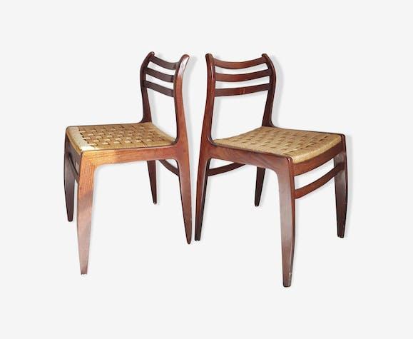 Paire de chaises scandinaves assise en corde tressée circa 1960