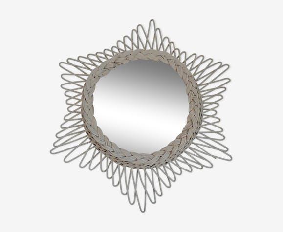 Miroir soleil vintage en rotin 42x49cm
