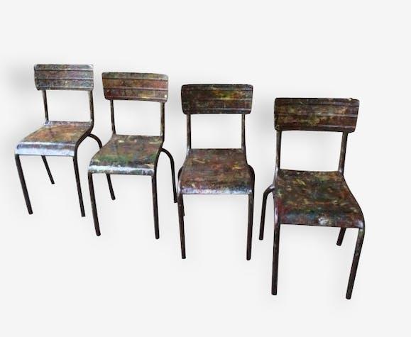 Ancienne chaise d'atelier de peinture thermolaqué