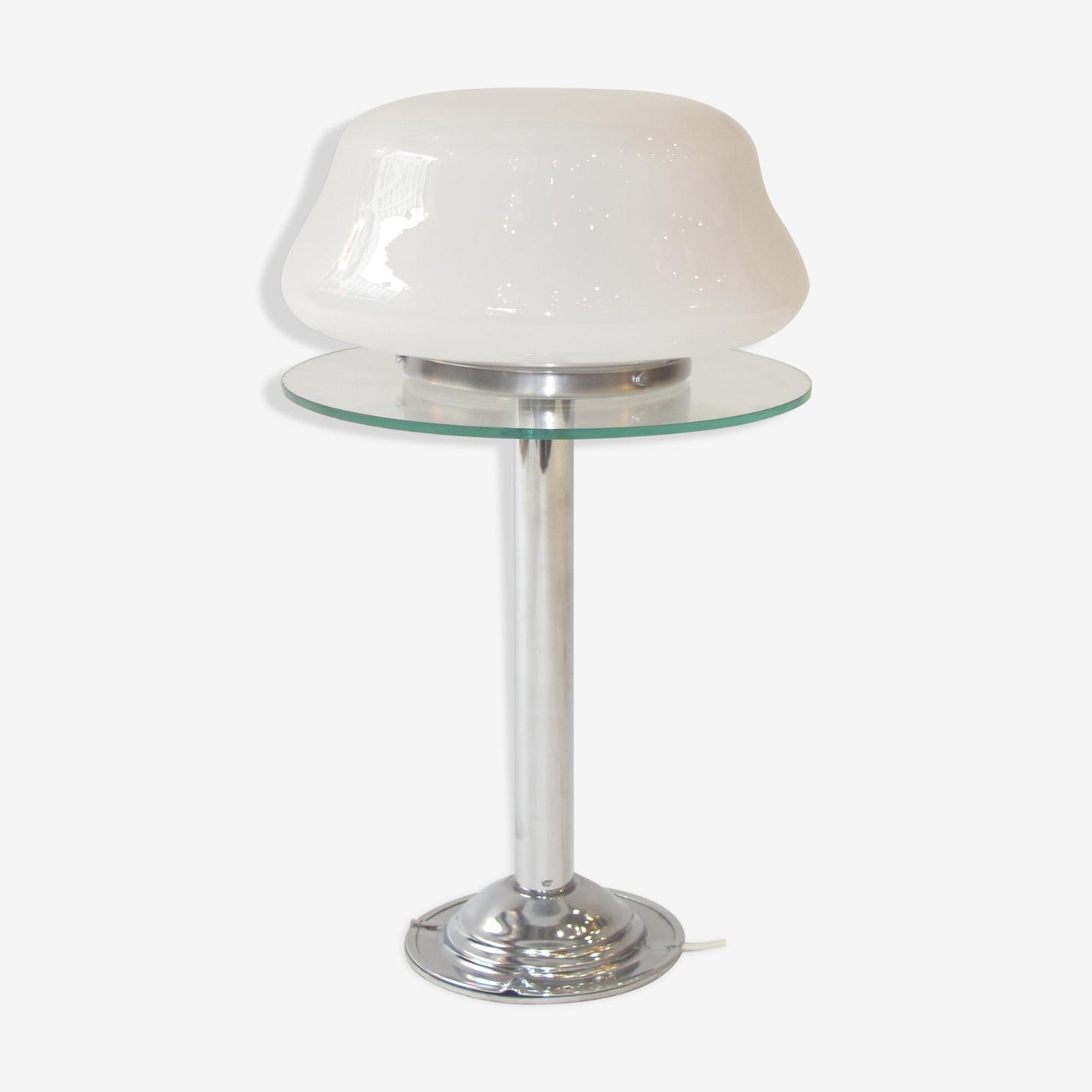 Lampe opaline, chrome et verre