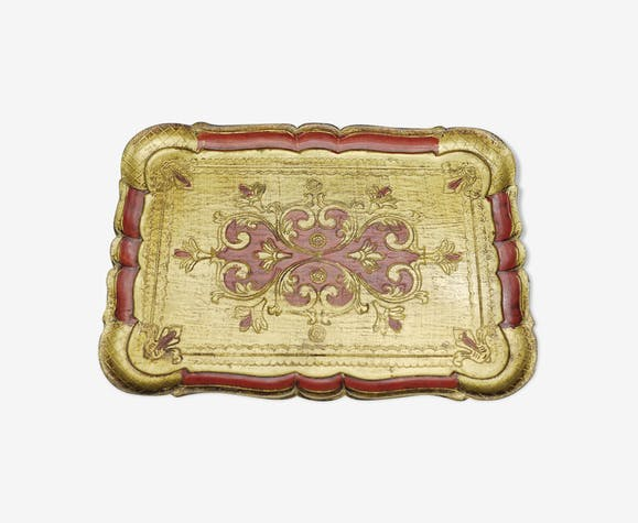 Florentine tray in resin painted with the hand of rectangular shape