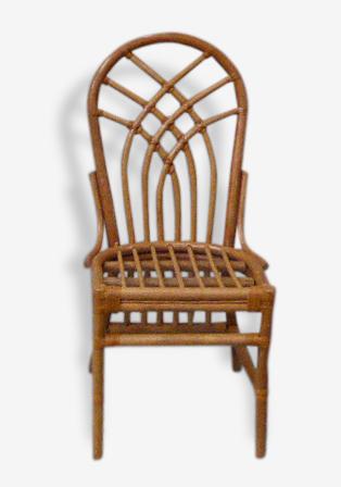 Chaise en bambou vintage 1970