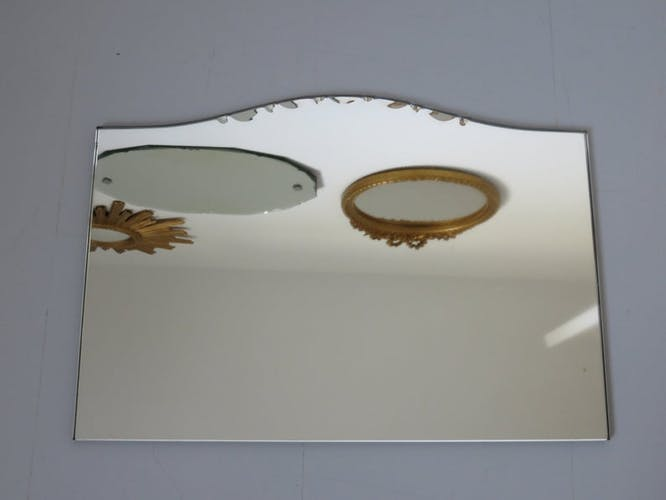Miroir biseauté argenture cuivrée art deco années 50 60 39x27cm