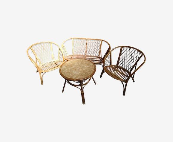 Salon de jardin en bambou et rotin - bois (Matériau) - bois ...