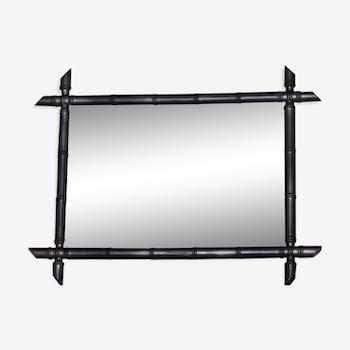 Miroir ancien en bois façon bambou 86 x 66 cm
