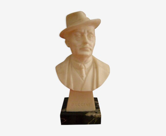 Puccini bust, marble base, height 13cm