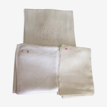 Lot de 3 serviettes monogramées