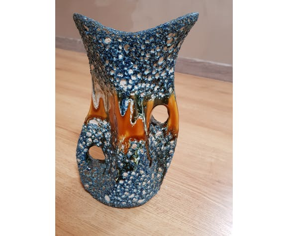Blue and brown lava vase 1950s-60s