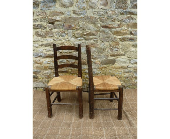 Pair of straw chairs 60s