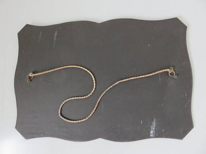 Beveled mirror art deco with rope 40/50 years size 44x55cm