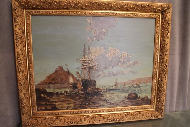 """Large oil painting on canvas marine late 19th """"the berthing of the sailboat"""""""