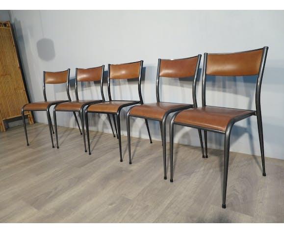 Lot de 5 chaises école Mullca pieds compas