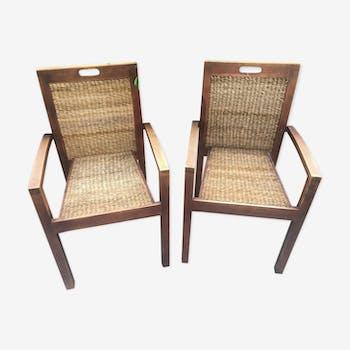 Paire de fauteuils teck et osier tressé