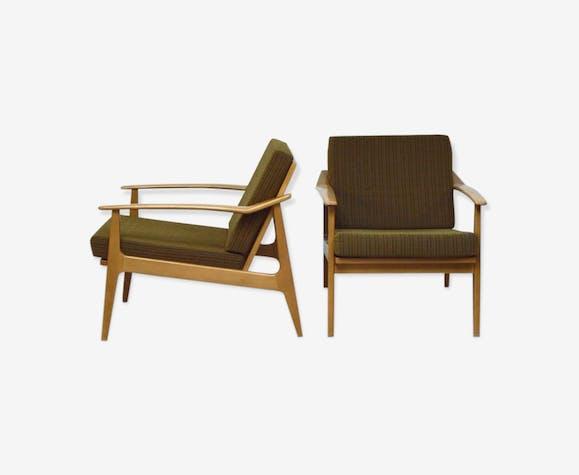 Paire de fauteuils scandinaves kaki, 1960
