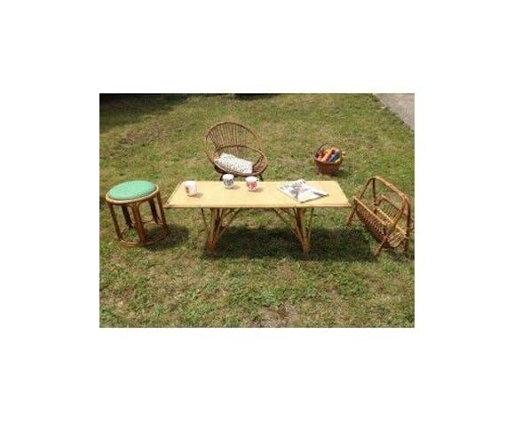 Table Basse En Longueur Rotin Et Dessus Plastifie Annees 60