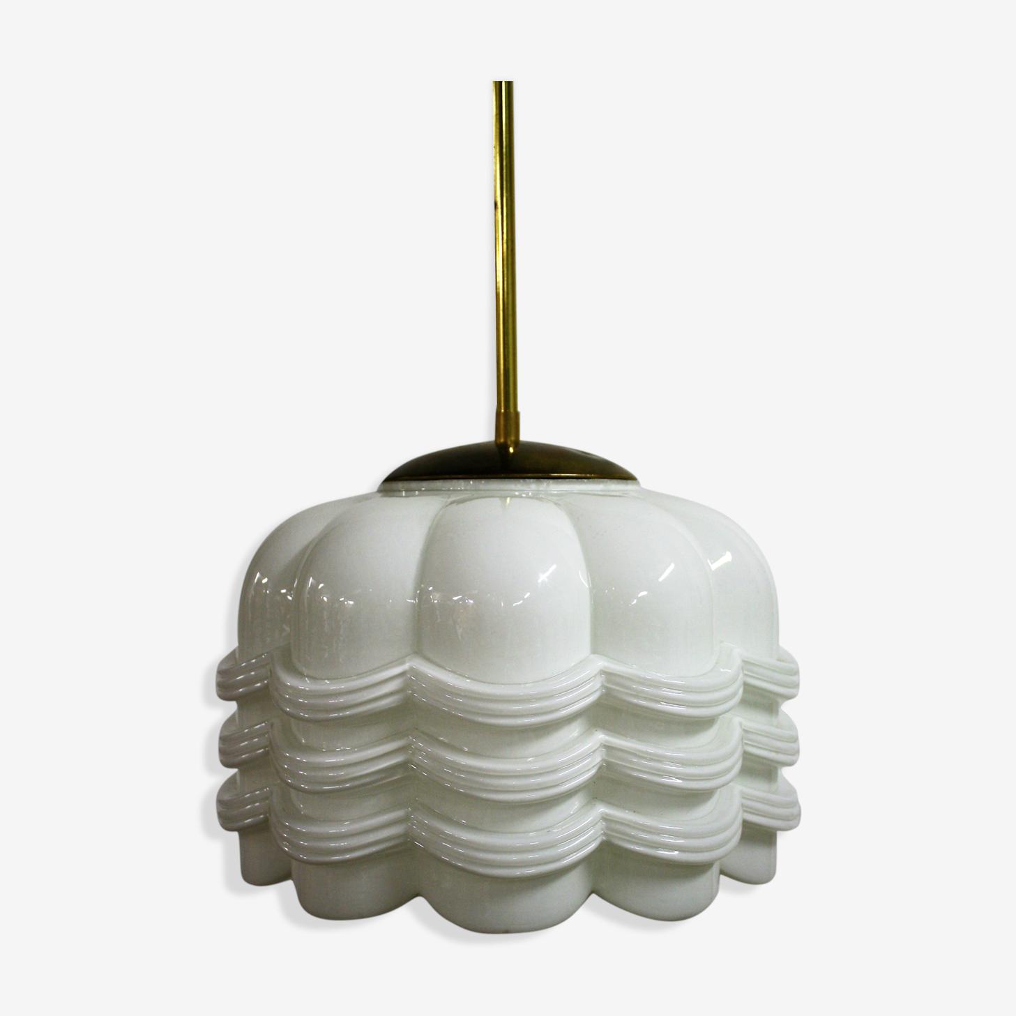 Art deco opaline floral hanging lamp 1930s