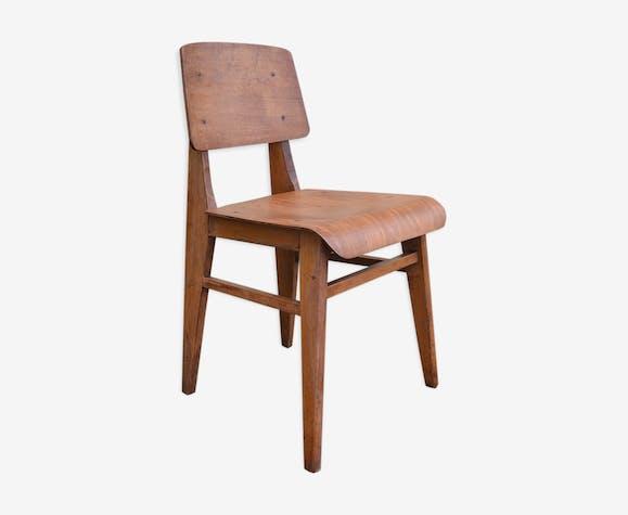 chaise france 1940 bois mat riau marron