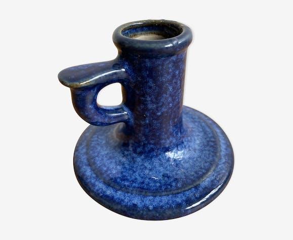 Bougeoir émaillé bleu