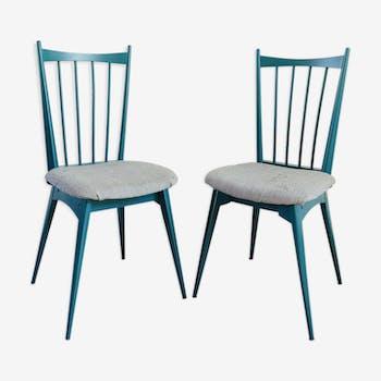 Paire de chaise à barreaux
