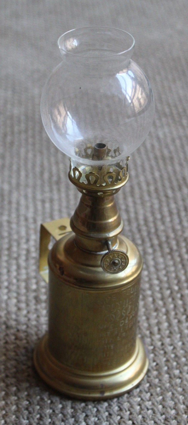 Lampe Ancienne A Petrole Laiton Marque Olympe Brass Golden