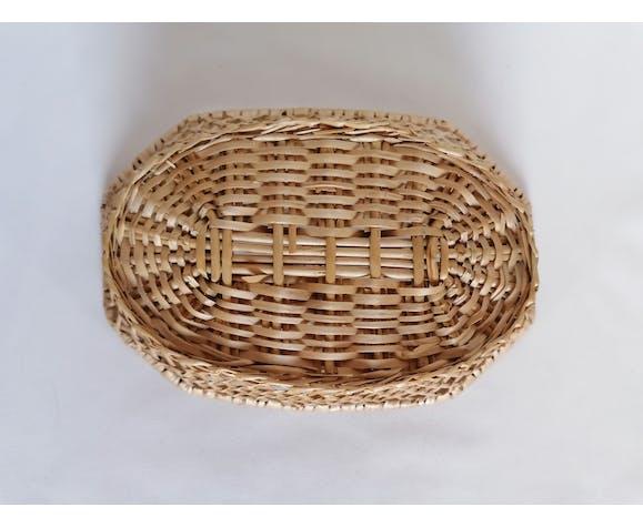 Corbeille à pain en osier tressé façon cannage
