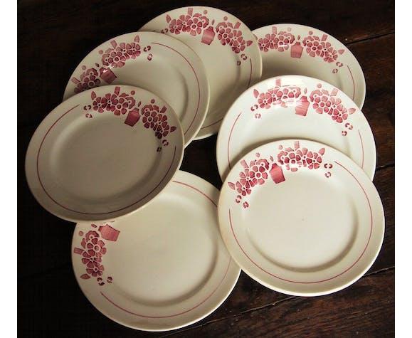 Lot 7 assiettes plates faïencerie du Rhône Labrut frères collection Saintonge
