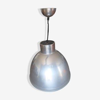 Suspension industrielle ancienne en métal et verre trempé