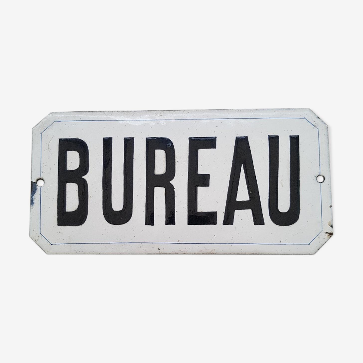 """Plaque émaillée début XXème """"Bureau"""""""