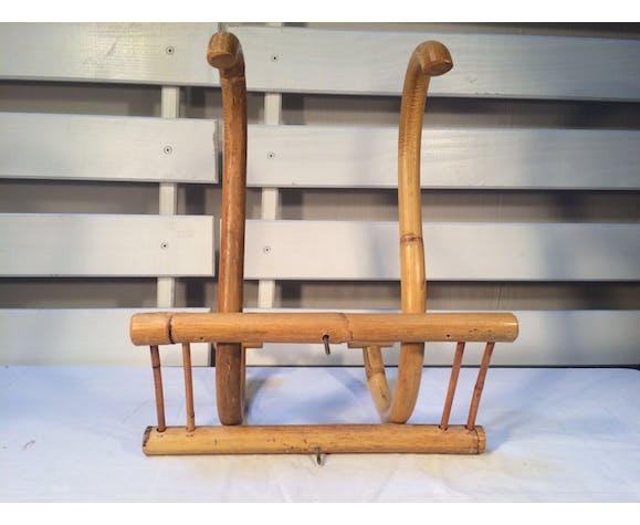 Patère en rotin et bambou deux anses années 60/70