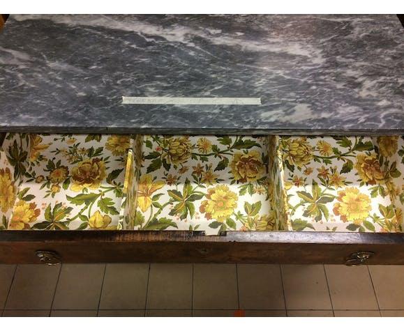 Commode Empire 3 tiroirs et plateau marbre gris