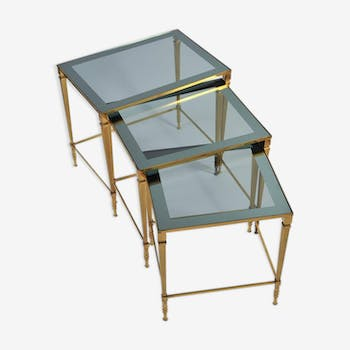 Set of nesting tables brass of the 1950s.