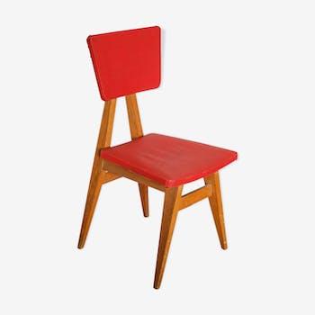 Chaise compas bois et skai