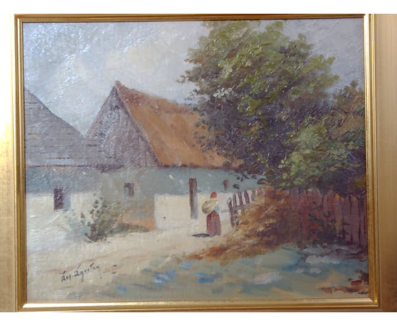 Ágoston Acs (1889-1947). Lady on village road. Oil on cardboard.